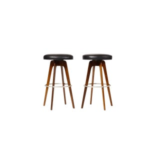 Mid-Century Walnut Barstools by Chet Beardsley — Swivel Seats — Black Leather — a Pair For Sale