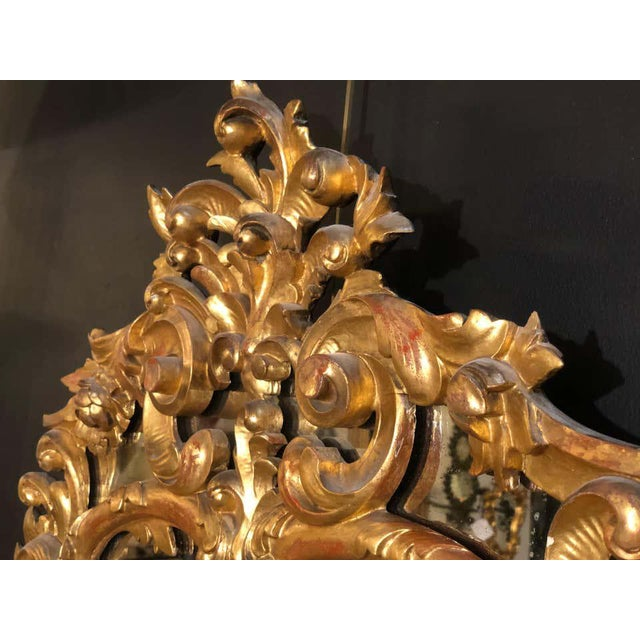 French 19th Century Gilt Mirror Wall or Console Mirror, French Finely Carved For Sale - Image 3 of 12