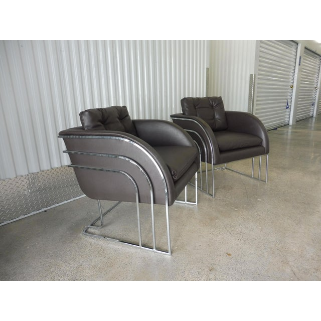 Directional 1970's Mid-Century Modern Milo Baughman Chrome and Leather Club Chairs - a Pair For Sale - Image 4 of 11