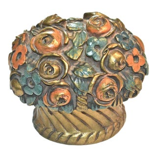 1920s French Barbotine Flower Bouquet Doorstop For Sale