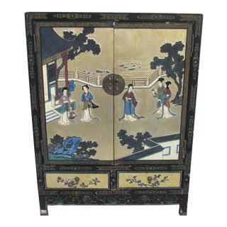 Antique Lacquer Enamel Coromandel Hand Painted Chinese Cabinet For Sale
