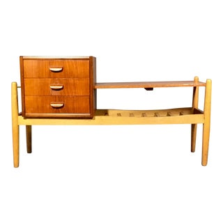 1950s Teak and Oak Hall Bench, Danish Design