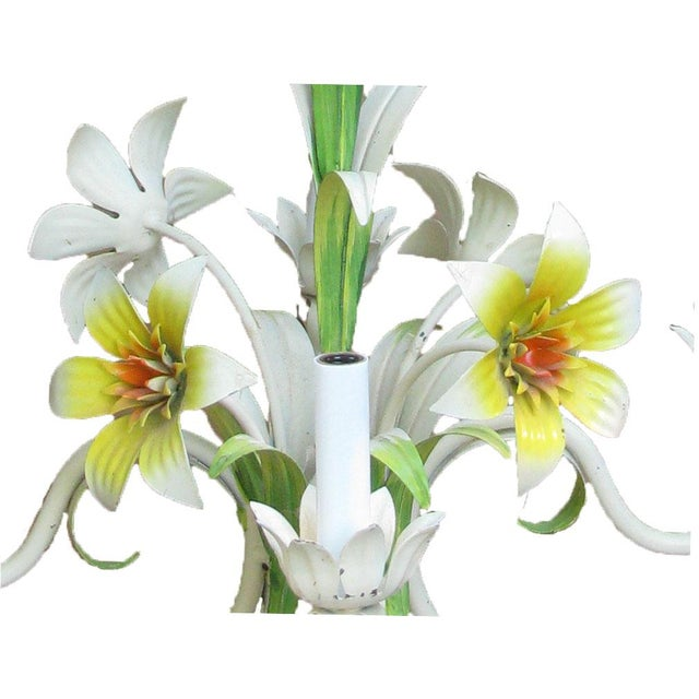 Figurative Italian Tole Floral Chandelier, C. 1960 For Sale - Image 3 of 5