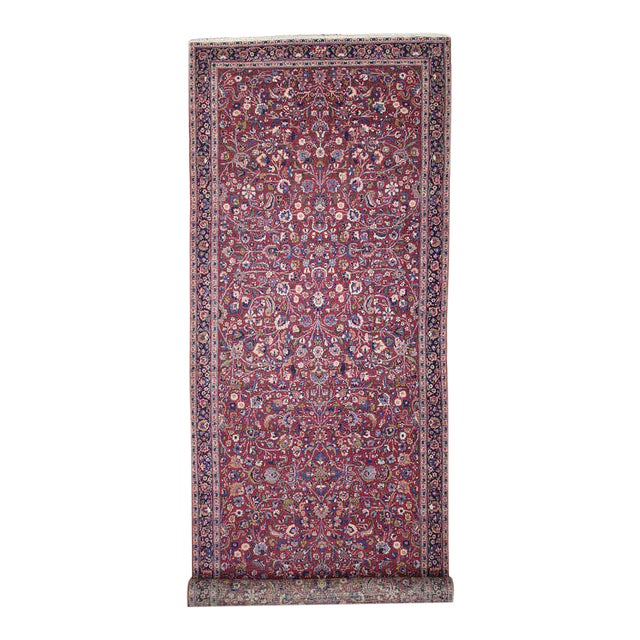 Antique Persian Mashad Extra Long Hallway Runner For Sale