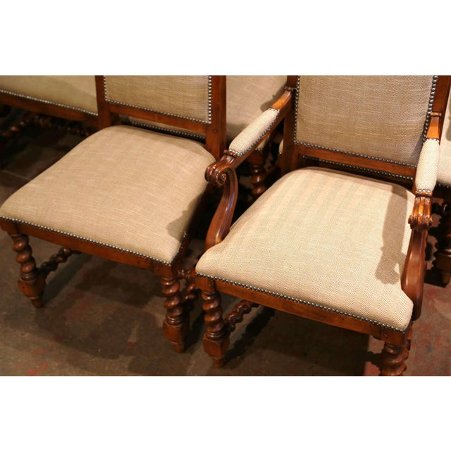 Suite of Twelve Carved Walnut Chairs From Ralph Lauren With Chenille and Leather For Sale - Image 9 of 13
