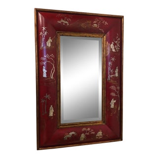 Red Chinoiserie Convex Mirror For Sale