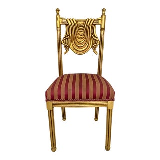 Vintage Gold Swag Back Accent Chair For Sale