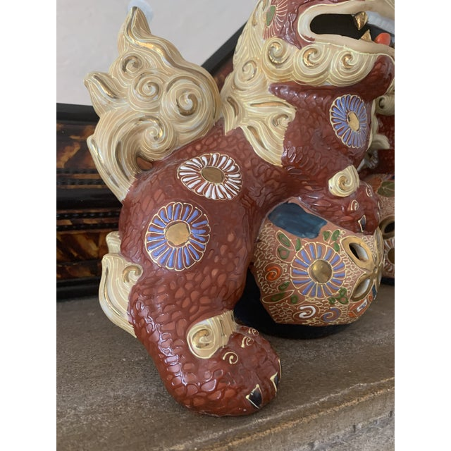 Japanese Vintage Asian Antique Foo Dogs - a Pair For Sale - Image 3 of 10