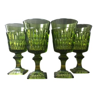 Mid-Century Mt. Vernon Green Wine Glasses by Indiana Glass - Set of 4 For Sale