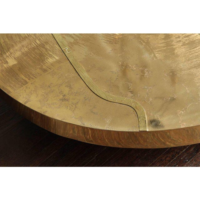 2010s Spectacular Round Etched Brass Cocktail Table with Agate Stone For Sale - Image 5 of 9