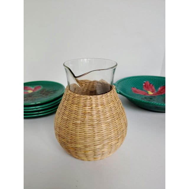 2000 - 2009 Woven Wicker Wrapped Pitcher For Sale - Image 5 of 9