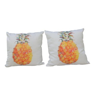 Pair of Outdoors/Indoors Yellow and Green Pineapple Decorative Pillows For Sale