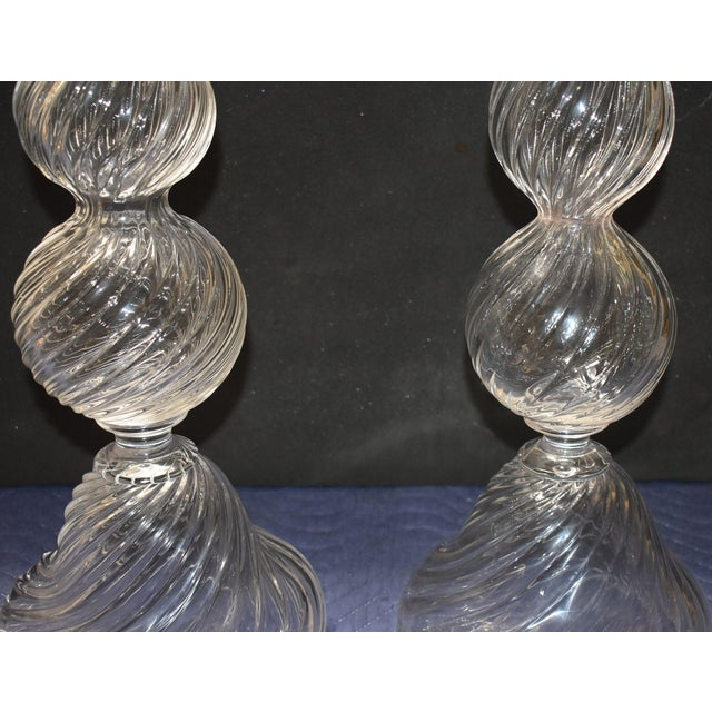 Late 20th Century Late 20th Century Vintage Seguso Handblown Glass Candle Holders- A Pair For Sale - Image 5 of 10