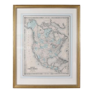 Giltwood Framed / Matted Map / North America For Sale
