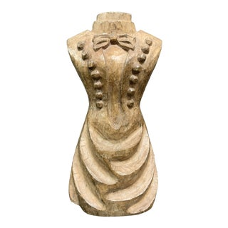 1920s Carved Wooden Paper Mache Mold Dress For Sale