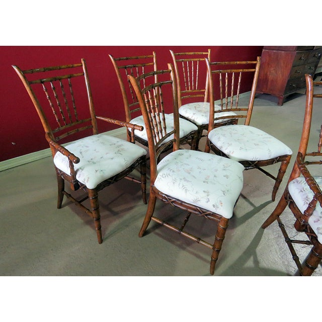 Mid Century Faux Bamboo Dining Chairs - Set of 6 For Sale In Philadelphia - Image 6 of 10