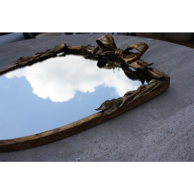 Dorothy Draper Style Gilt Bow & Shield Mirror - Image 6 of 6
