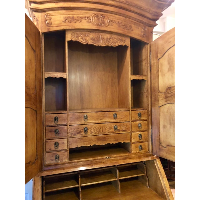 French Antique French Provincial Secretary Slant Front Desk Bookcase W Lion Pulls For Sale - Image 3 of 6