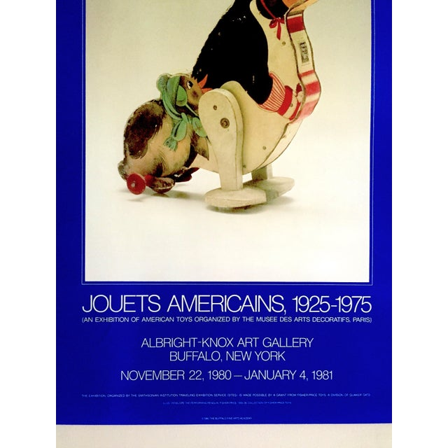 """Black """" Jouets Americains 1925 - 1975 """" Rare 1980 Lithograph Print Vintage Toys Museum Exhibition Poster For Sale - Image 8 of 11"""