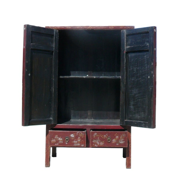 Vintage Chinese Armoire with Flower & Bird Accents For Sale - Image 5 of 6