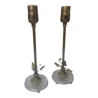 Vintage Brass & Crystal Lamps- 2 Pc