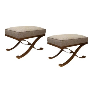 Raymond Subes Pair of Gold Leaf Wrought Iron Stools For Sale