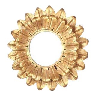 Large Round Gold Leaf Sunburst Backlit Mirror, France 1960 For Sale