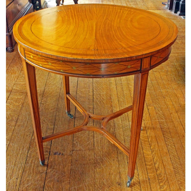 Metal English Satinwood Center Table For Sale - Image 7 of 7