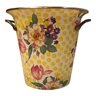 Cottage Mackenzie Childs Buttercup Ice Bucket Wine Holder For Sale