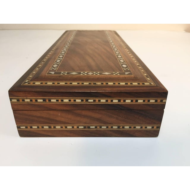 Red Mid Century Large Decorative Syrian Box Inlay With Mother-Of-Pearl For Sale - Image 8 of 10