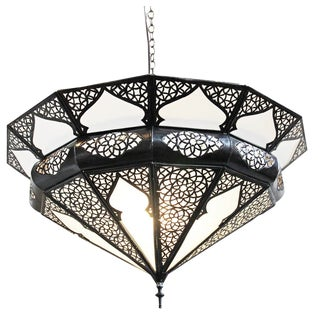 Moroccan Metal Frosted Dish Lantern For Sale