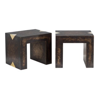 The Rectangular Bronze Collection Brass Side Tables by Talisman Bespoke For Sale