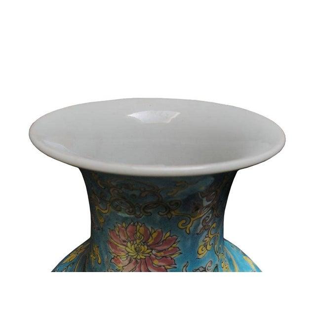 2000 - 2009 Chinese Porcelain Blue Base Animals Decor Vase For Sale - Image 5 of 6