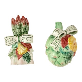 Fitz and Floyd Asparagus and Artichoke Salt and Pepper Shakers - Set of 2 For Sale