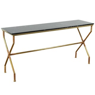 Paul Marra Brass and Raffia Console With Marble Top For Sale