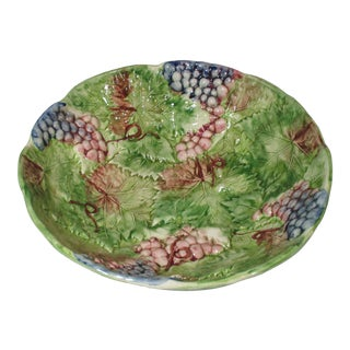 1990s Large Grape and Leaf High Relief Bowl For Sale