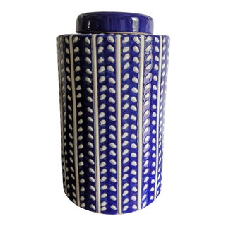 Blue and White Glazed Ceramic Urn For Sale