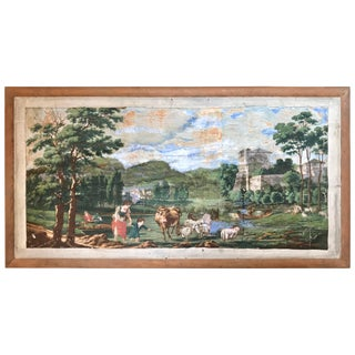 Early 19th Century Wallpaper American Fireboard For Sale