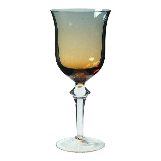 Denby Aurora Blue & Amber Stemware Wine Glass For Sale