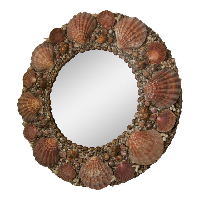 Hollywood Regency Round Seashell Encrusted Wall Mirror For Sale