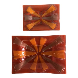 Vintage Mid-Century Starburst Ashtrays by Higgins - Set of 2 For Sale