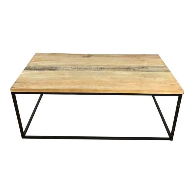 West Elm Box Frame Wood Metal Coffee Table Chairish - West elm plank coffee table