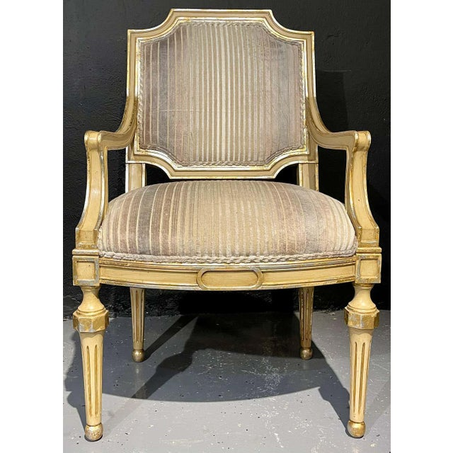 Set of Eight Louis XVI Style Dining Chairs Painted and Parcel-Gilt, Jansen Style For Sale - Image 10 of 13