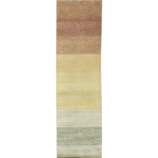 Contemporary Hand Woven Army Green and Brown Wool Rug 2'7 X 9'0 For Sale