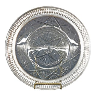 Vintage Cut Glass and Sterling Silver Serving Tray Circa 1940 For Sale