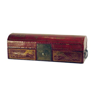 Circa 1870 Leather & Red Lacquer Chinese Domed Box