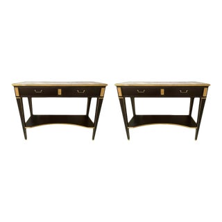 Pair of Hollywood Regency Neoclassical Ebony Console Tables Manner Jansen For Sale