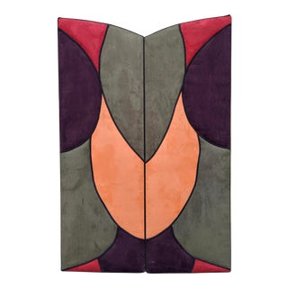 1980s Contemporary Colorful Ultrasuede Screen For Sale