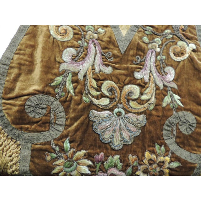Traditional 19th Century Silk Embroidery Byzantine Damask and Velvet Table Runner For Sale - Image 3 of 9