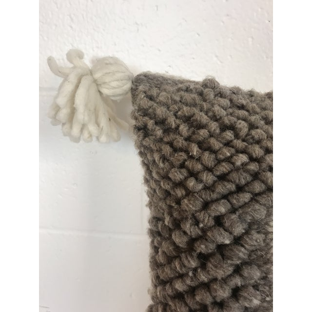 Gray & White Boho Wool Pillow For Sale - Image 4 of 6